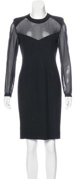 Donna Karan Long Sleeve Sheer Dress