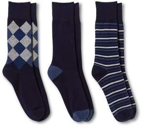 Merona Men's 3Pk Argyle and Stripe Socks