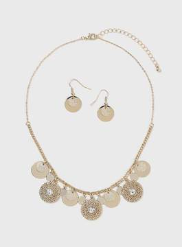 Dorothy Perkins Gold Look Coin Necklace and Earrings Set