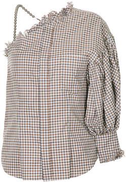 Facetasm checked one shoulder blouse