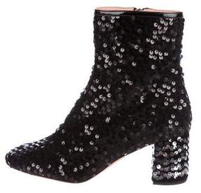 Rochas Sequined Round-Toe Ankle Boots
