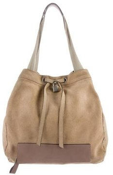 Brunello Cucinelli Leather-Trimmed Suede Tote
