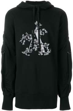 Ann Demeulemeester Blanche strap detail A print hoodie