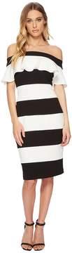 Adrianna Papell Knit Crepe Color Block Ruffle Sheath Women's Dress