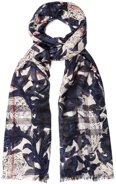 BURBERRY Beasts-print wool-blend scarf
