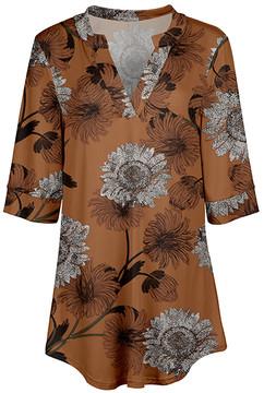 Azalea Orange & White Floral V-Neck Tunic - Women & Plus
