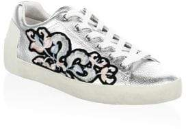 Ash Embroidered Leather Sneakers
