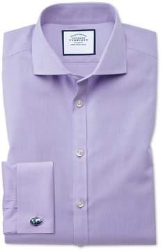 Charles Tyrwhitt Extra Slim Fit Spread Collar Non-Iron Poplin Lilac Cotton Dress Shirt Single Cuff Size 14.5/32