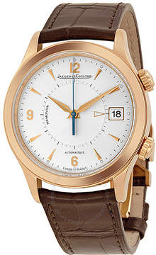 Jaeger-LeCoultre Jaeger Lecoultre Master Memovox Silver Dial 18kt Rose Gold Brown Leather Men's Watch