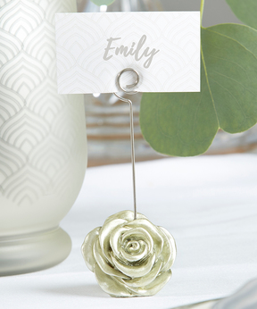 Light Gold Rose Place Card Holder (Set of 12)