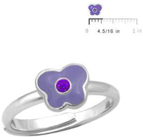 Ice Silver June Birthstone Enameled Butterfly Girls' Adjustable RIng (Size 3 to 7)
