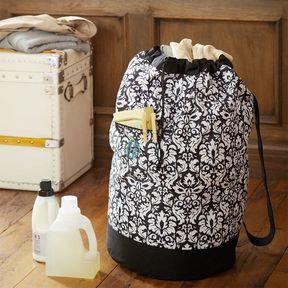 Black Damask Laundry Backpack