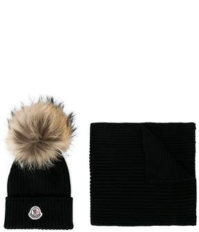 Moncler knitted hat and scarf set