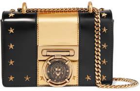 Balmain Embellished Two-tone Leather Shoulder Bag - Black