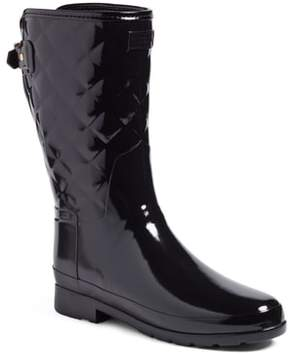 Hunter Women's Refined High Gloss Quilted Short Rain Boot
