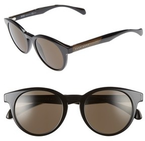 BOSS Men's 50Mm Sunglasses - Black Crystal/ Brown Grey