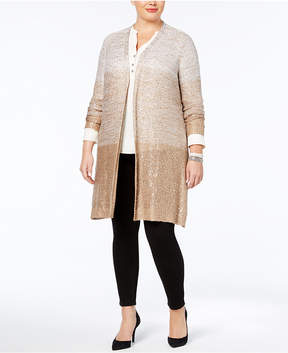 Belldini Plus Size Colorblocked Sequined Cardigan