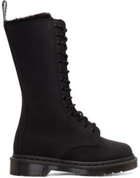 Dr. Martens Black Suede Fur-Lined 14-Eye Boots