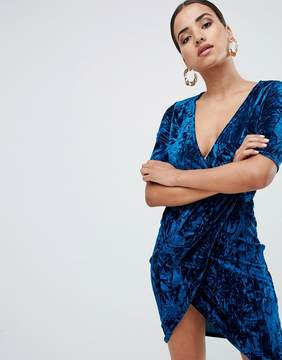 Club L Velvet Wrap Front Dress