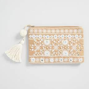 World Market Tan and White Mirrored Pouch