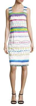 David Meister Printed Stretch-Cotton Sheath Dress