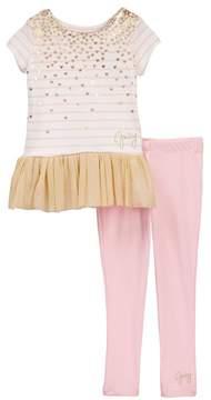 Juicy Couture Striped Heart Print Tunic & Legging Set (Toddler Girls)