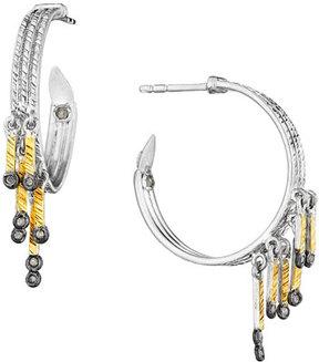 Coomi Spring Tricolor Hoop Earrings with Diamonds