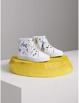 Burberry Doodle Print High-top Trainers