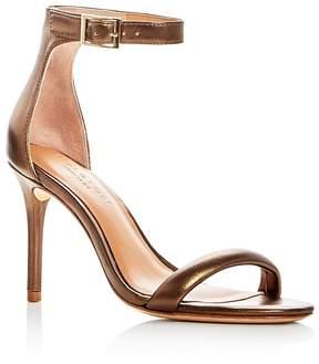 Halston Women's Ester Leather Ankle Strap High Heel Sandals