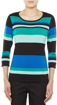 Allison Daley 3/4 Sleeve Mixed Stripe Pullover Sweater