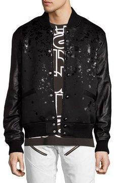 PRPS Leather-Sleeve Splatter Bomber Jacket, Black