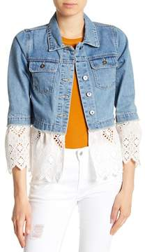 C&C California Eyelet Crochet Lace Hem Denim Jacket