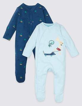 Marks and Spencer 2 Pack Pure Cotton Applique Sleepsuits