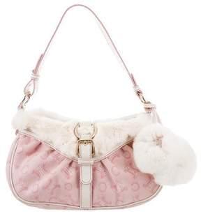 Celine Fur-Trimmed Monogram Bag