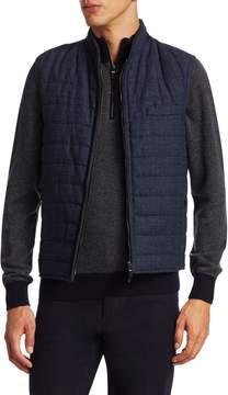 Luciano Barbera Men's Navy Dream Tweed Quilted Vest