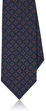 Isaia Men's Floral-Medallion-Pattern Silk-Cotton Necktie
