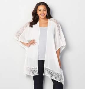 Avenue Sheer Lace Trim Kimono