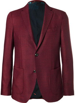 Etro Burgundy Mélange Wool Blazer