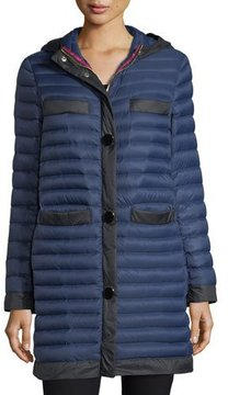 Kate Spade Packable Soft-Down Quilted Puffer Coat In Travel Bag - NAVY/BLACK - STYLE