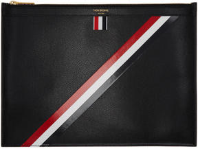 Thom Browne Black Medium Diagonal Stripe Zipper Document Holder