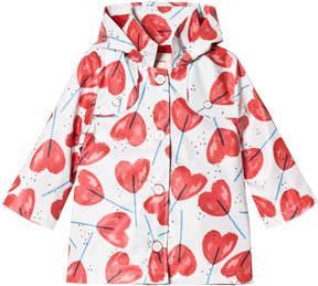 Catimini White Heart Lollipop Print Raincoat