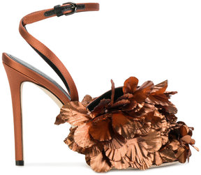 Marco De Vincenzo floral appliqué heeled sandals