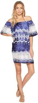 LaBlanca La Blanca Denim & Lace Off The Shoulder Dress Cover-Up