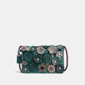 COACH DINKY 24 IN GLOVETANNED LEATHER WITH LINKED TEA ROSE - BLACK COPPER/DARK TURQUOISE