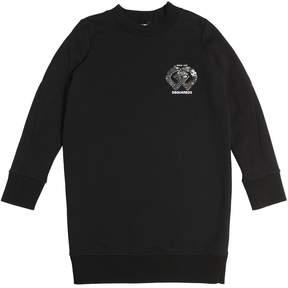 DSQUARED2 Sequin Logo Cotton Sweatshirt Dress