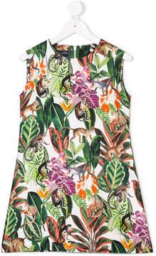 Oscar de la Renta Kids Jungle monkeys mikado a-line dress