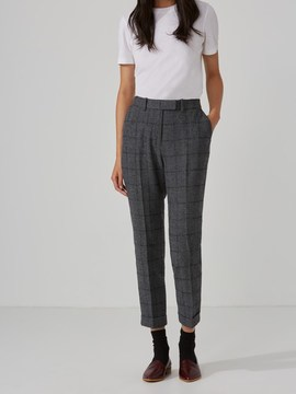Frank and Oak Narrow Wool-Blend Plaid Pant in Grey