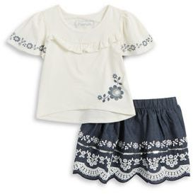 Flapdoodles Little Girl's Sequined Top and Graphic Skirt Set