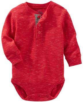 Osh Kosh Baby Boy Solid Thermal Henley Bodysuit