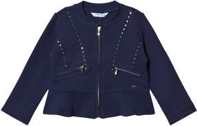 Mayoral Navy Jersey Studded Jacket